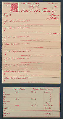 Canada: 1910s Bank of Toronto Cheques (9) & Reconcilation Slips (2) Nice lot!