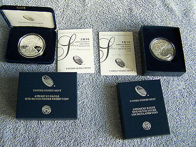 2016-W 30th Anniversary Proof & Uncirculated American Eagle Silver Dollar