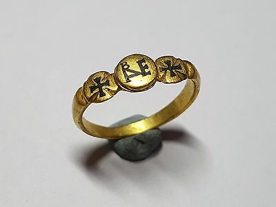 BYZANTINE  RING WITH CROSSES  AND MONOGRAM  10th-12th century AD