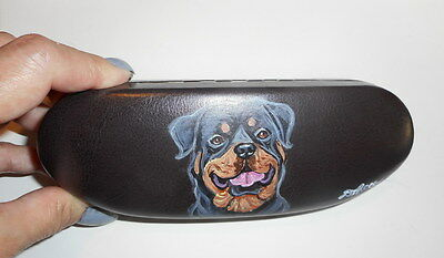 Rottweiler Dog Hand Painted Eyeglass case Simulated Leather