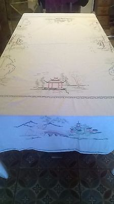 Vintage Hand Embroidery Oriental Design Table Cloth, Very Large