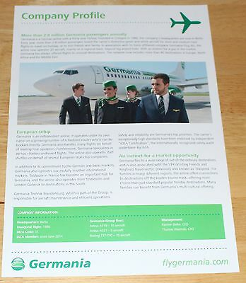 Germania Airlines Company Profile Leaflet