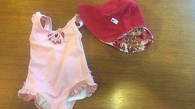 Janie and Jack 0 3 6 Month Girls Bathing Suit Reversible Hat Set
