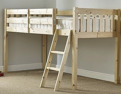 3FT Single Cabin Bed Solid Pine HEAVY DUTY Mid Sleeper Bed   (EB27)