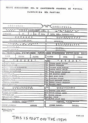 ENGLAND v WEST GERMANY 1970 WORLD CUP QUARTER FINAL IN LEON MEXICO TEAM SHEET