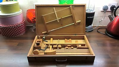 Charming Vintage Wooden Toy Tool set in box made in the USSR