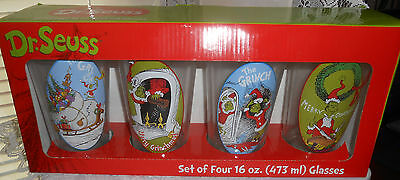NEW Dr. Suess How the Grinch Stole Christmas Set Of 4 16 oz Christmas Glasses