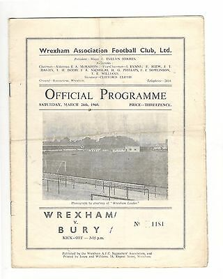 Wrexham v Bury  1959 - 1960