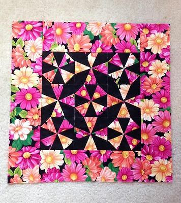 "Pink & Black Floral Pattern Quilted Pillow Top Sampler Square 14.5"" x 14.5"""