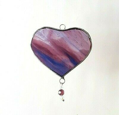 Blue pink love Heart stained glass suncatcher drop Valentines Mothers day gift