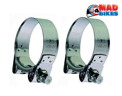 Heavy Duty Mikalor Stainless Steel Motorcycle Exhaust Clamps Banjo Clips 51-55mm