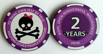 "Alcoholics Anonymous 2 Year Skull and Bow Sobriety Chip - Pink - 1 1/2"" Diameter"