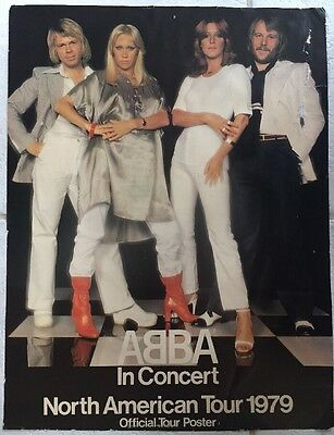 ABBA Official Tour Poster In Concert North American Tour 1979 Used Record Store
