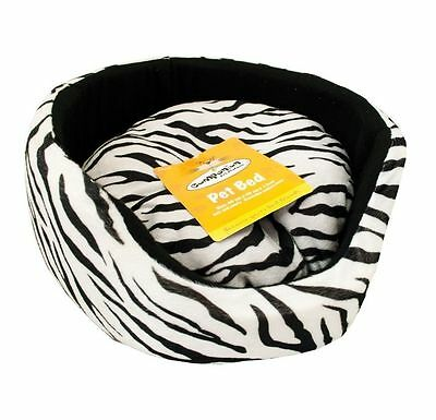 Zebra Print Super Soft Luxury Comfy Dog Cat Puppy Pet Bed Removable Cushion