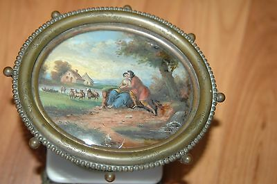 BRONZE HAND PAINTED TAZZA Tray LOVERS PASTORAL Scene BOAT COTTAGE SHEEP 5""