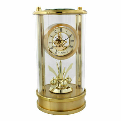 Gold Skeleton Dial Glass Mantel Table Clock w Roman Numerals 18x9cm