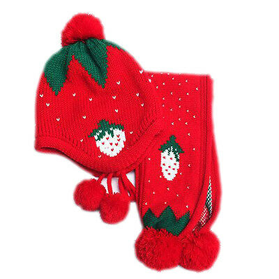 #Red 2016 Winter Warm Baby Hat Scarf Boys Girls Infant Woolen Ball Scarf Caps