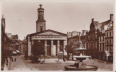 Elgin Nice Old Real Photo Postcard The High Street , Valentines