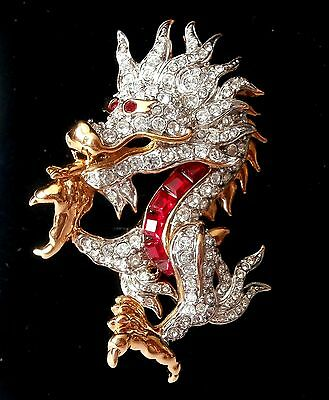 Signed Swarovski Dragon Pin Brooch Rhodium set with Red and Pave Crystals