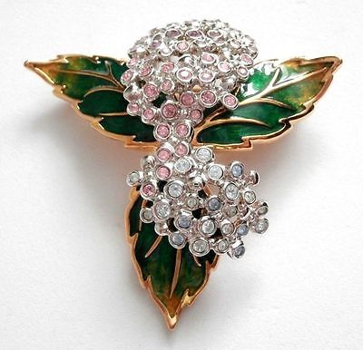 Signed Swarovski Pin Brooch Gold Plated Hydrangea Pin set with Crystals New (D)
