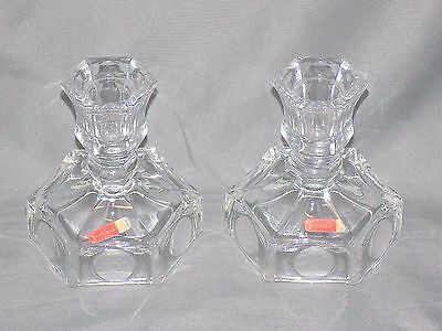 Vintage Avon Fostoria 1977 Coin Glass, Lot of 2,  Taper Candlestick Holders
