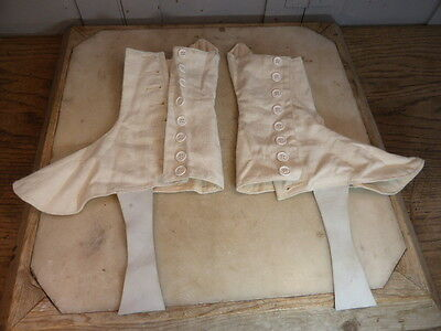 Vintage pair Hobson & Sons mens white military Spats size 5