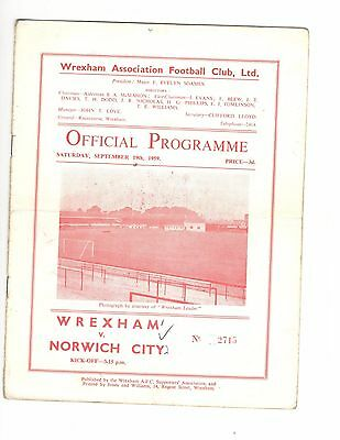 Wrexham v Norwich City 1959 - 1960