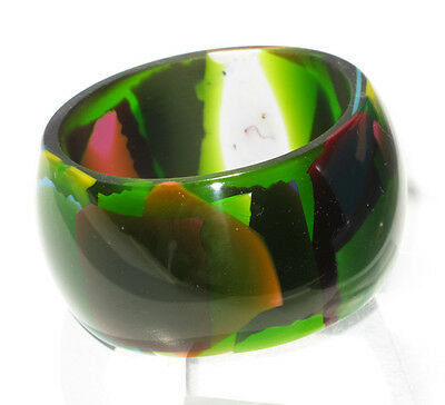Vintage Resin Bracelet Bangle multicolor green camouflage design with inclusion