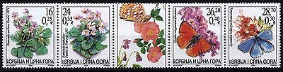 4533 Serbia and Montenegro 2004 Flora and Butterflies Strip **MNH