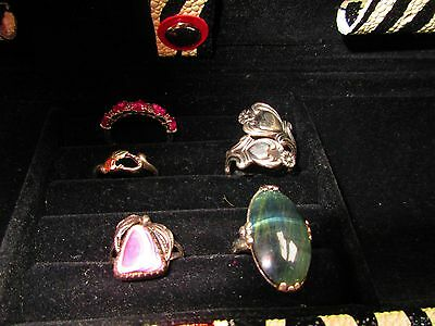 Five Sterling Silver Rings Mixed Lot / Sapphire, Spoon Ring,black Hills, Others
