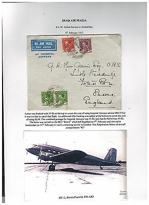1937 Iraq Airmail Cover to England Via KLM Airways