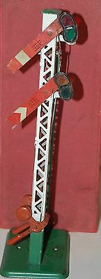 HORNBY SERIES O GAUGE No 2 DOUBLE ARM SIGNAL PRE WAR WITH BOX 'HOME'