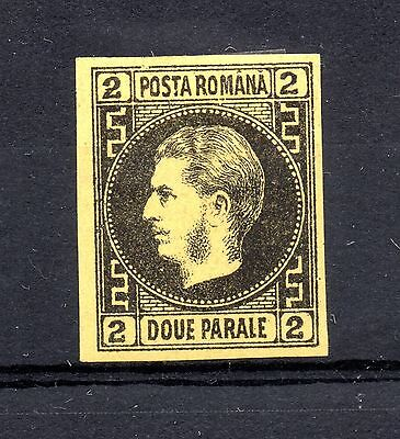 Rumania (1055) 1866  2 Parale  Black on Yellow imperf lightly mounted Sg60