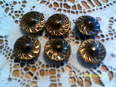 6 Vintage Gold And Copper Tone Buttons Decorative Swirl Design