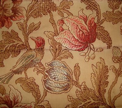 BEAUTIFUL TIMEWORN 19th CENTURY SILKY COTTON BROCADE, BIRDS ACORNS LILIES