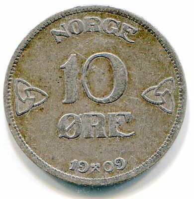 Norway 10 Ore 1909 nice coin    lotjan4715