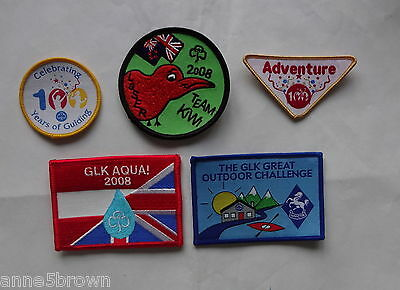 Uk Girl Guides: 5 Mint Assorted Cloth Badges/patches ~ Challenge & Events ~ S1