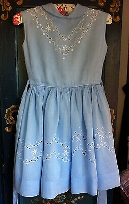 """RARE 1950's GIRLS COTTON LAWN PARTY DRESS - VERY PRETTY CHEST 30"""" CHEST AGE 8 9"""