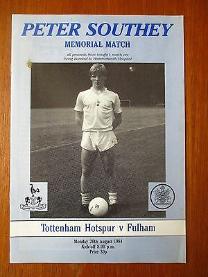 Tottenham v Fulham football programme 1984 Peter Southey memorial
