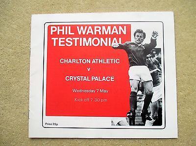 Charlton v Crystal Palace football programme 1980 - Phil Warman Testimonial