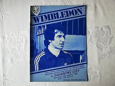 Wimbledon v Coventry City football programme 1983 - David Clement memorial