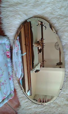 Vintage ART DECO Bevelled Edge Mirror  -  OVAL with Wood back & CHAIN