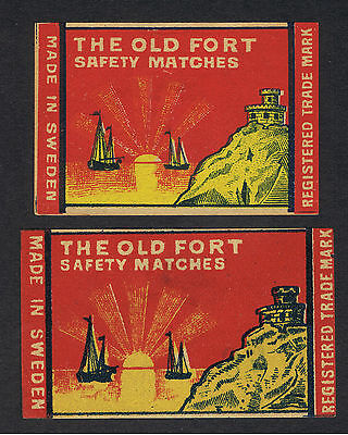 Matchbox labels. Sweden. Swedish. SIRIUS. THE OLD FORT. 2  BOXES.
