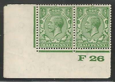 George V -SG 418-1/2d Green - Block Cypher - Mint Not Hinged - Control F 26