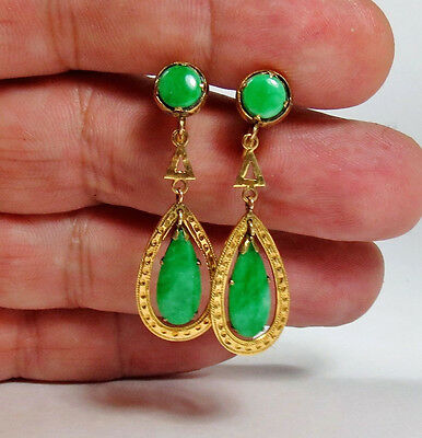 Antique, Deco, Chinese, 14K Yellow Gold And Natural Jadeite Jade Earrings