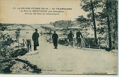 Bicycle,bike,cycle Ww1 Officers,soldiers,policeman,france Champagne Old Postcard