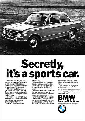Bmw 2002 Type 114 Retro A3 Poster Print From Classic 70's Advert 1972