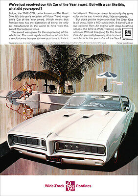 Pontiac Gto Retro Muscle A3 Poster Print From Advert 1968