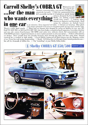 Ford Mustang Shelby Gt 500 & Gt 350 Retro Poster A3 Print From 60's Advert 1968