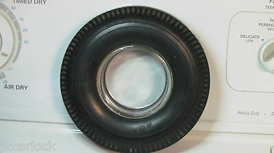 Firestone Deluxe Champion Tubeless Rubber Tire Embossed Glass Ashtray
